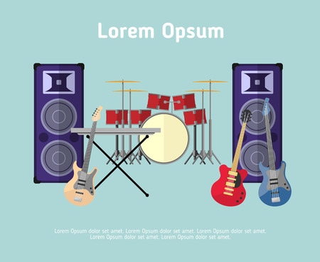 concert: Rock band musical instruments in flat style. Stage design, rock sound, concert electric play, vector illustration
