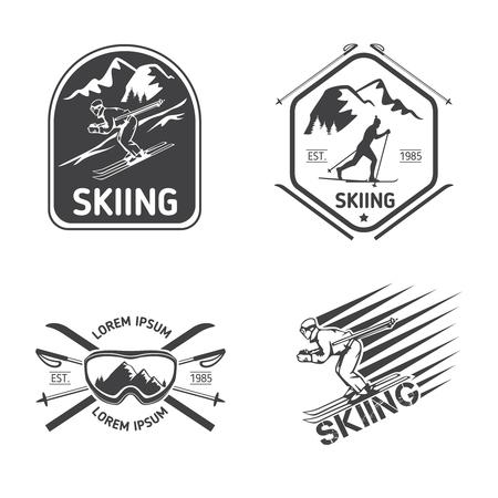 Retro skiing labels, emblems, and logos set. Sport design, travel vintage badge, vector illustration
