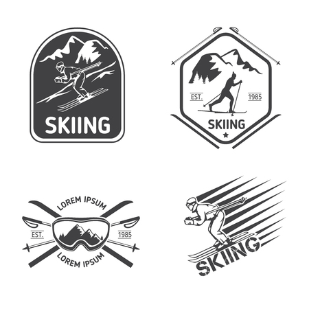 Retro skiing labels, emblems, and logos set. Sport design, travel vintage badge, vector illustration