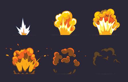 flames icon: Cartoon explosion effect with smoke. Effect boom, explode flash, bomb comic, vector illustration. Animation frames for game