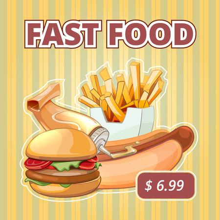 comida rapida: comida rápida vintage Cartel del menú del vector. Merienda hamburguesa, sándwich de oferta, bebida y sabrosa ilustración