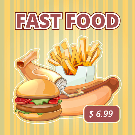 Vintage fast food vector menu poster. Snack burger, offer sandwich, drink and tasty illustration