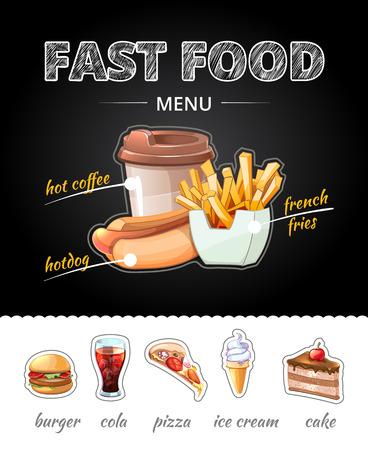 cup: la publicidad de comida rápida en la pizarra. El almuerzo de cola y papas fritas, pizza y una taza de café, helados y pasteles. ilustración vectorial