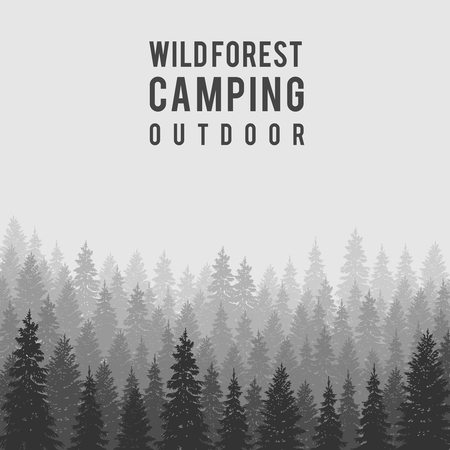 Wild coniferous forest background.  Pine tree, landscape nature, wood natural panorama. Outdoor camping design template. Vector illustration Çizim