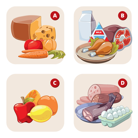 food products: Healthy products containing vitamins. Food healthy, tomato aand lemon, apple and ham, vitamin d b a c. Vector illustration infographic Illustration