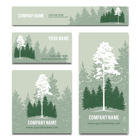 cedar: Business cards brochure template design with green forest background. Banner company name, card and landscape, vector illustration