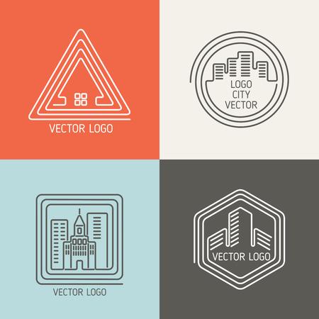 estates: Real estate house linear logos, emblems set. Building architecture, design home, vector illustration Illustration