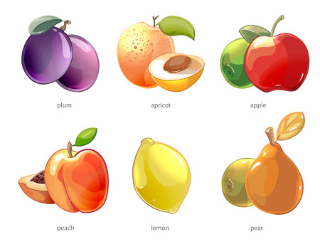 half of apple: Cartoon fruits vector icons set. Apple and lemon, peach and pear, apricot and plum illustration