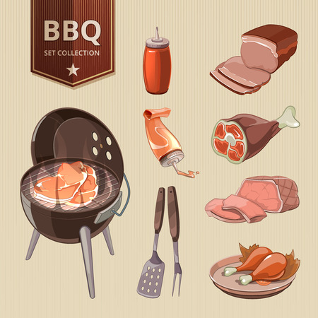 steak beef: BBQ meat vector elements vintage barbecue poster. Grill food, retro design, hot steak illustration Illustration