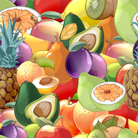 abstract food: Cocktail fruits and berries seamless pattern background. Kiwi and avocado, raw and plum, peach and pear, tasty apple and pineapple, vector illustration Illustration
