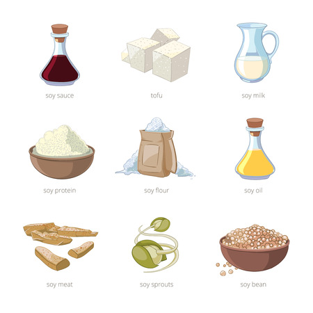 Cartoon soy food vector set. Healthy diet, seed soya, tofu and milk, vegan organic soybean illustration