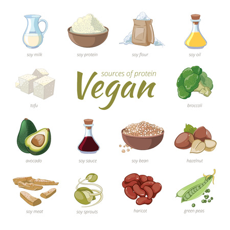 Vegan sources of protein. Plant based protein icons in cartoon style. Peas and haricot, hazelnut and avocado, broccoli and soy, vector illustration Ilustração