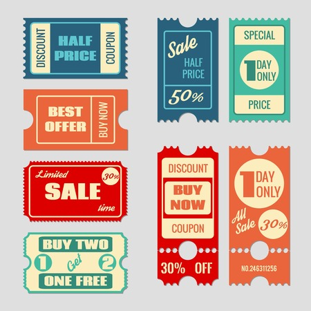 Sale tickets vector collection. Coupon and buy, tag and price, label paper, promotion discount illustration