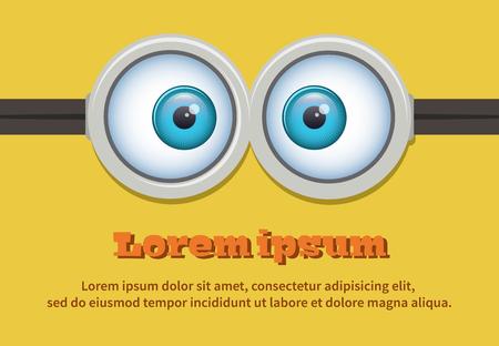face: Cartoon dos anteojos o gafas de ojos. Tallo de ojos ilustración globo ocular. Carácter vectorial
