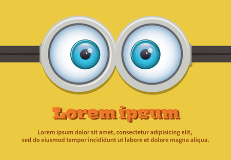 human face: Cartoon two eyes glasses or goggles. Stalk-eyed eyeball illustration. Vector character Illustration