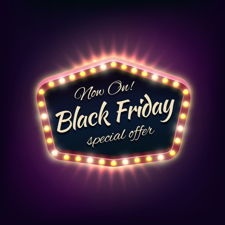 typographical: Black friday sale shining typographical background light frame. Discount and market, advertisement billboard, retail and business. Vector illustration