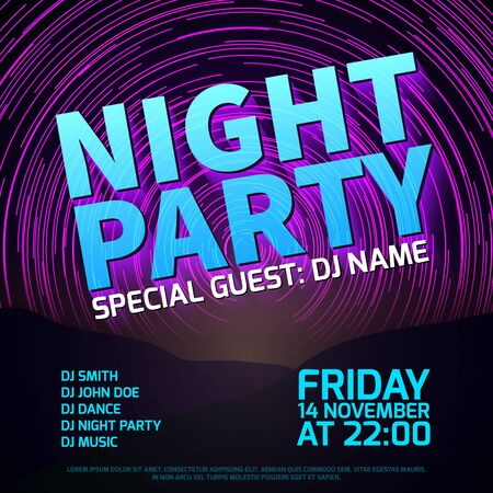 trails: Night party background with star trails place for text.  Disco club music, celebration entertainment, vector illustration