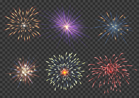 petard: Vector fireworks set. Event, sparkle and star, pyrotechnic and petard illustration Illustration