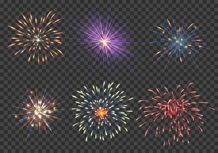 festival: Vector fireworks set. Event, sparkle and star, pyrotechnic and petard illustration Illustration