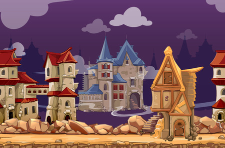 medieval: Medieval city seamless landscape background for computer game. Interface panoramic, gui city or town, vector illustration