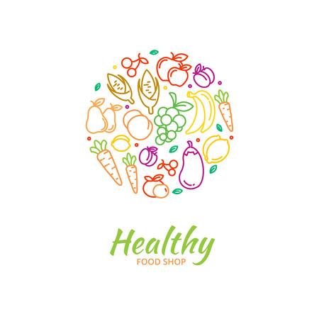 Gezond voedsel op te slaan logo groenten en fruit pictogrammen. Kersen en druiven, veganistische voeding, citroen en maïs, aubergine en banaan, vector illustratie