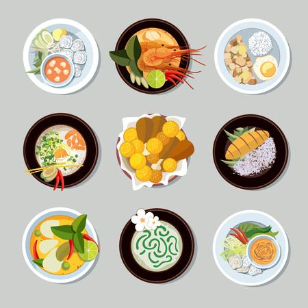 Iconos de los alimentos tailandeses establecen. Camarón y restaurante tradicional, la cocina y el menú, ilustración vectorial