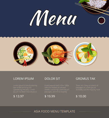 cuisine: Thai food menu template design. Price and buy, shrimp and cuisine, breakfast seafood, vector illustration