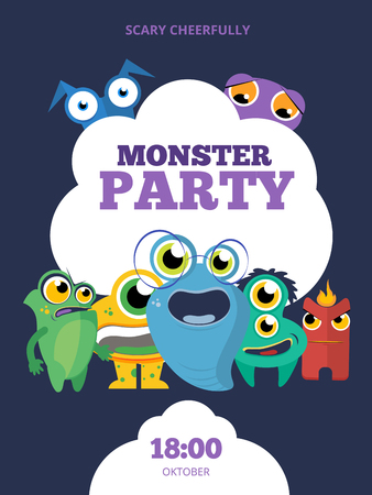 mutant: Monster party invitation card, poster, background template design. Funny alien, creature mutant, ogre and cyclops, vector illustration