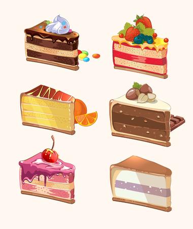 Cartoon Kuchenstücke. Snack lecker, Beeren und lecker, Kuchen mit Kirsche, Kuchen und Süßwaren, Dessert Stück. Vektor-Illustration