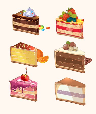 porcion de pastel: Pedazos de la torta de la historieta. Bocado delicioso, bayas y sabroso, pastel con la cereza, alimentos dulces, postres pieza. ilustración vectorial