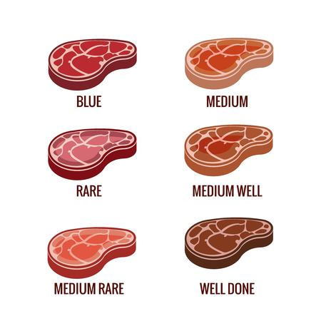 readiness: Degree of steak readiness icons set. Well done and rare, appetizing beefsteak, doneness barbecue, bbq menu, vector illustration