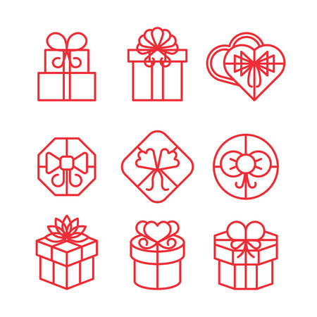 wedding gift: Gift boxes with bows linear icons set. Box present, decoration package, surprise xmas or wedding, vector illustration