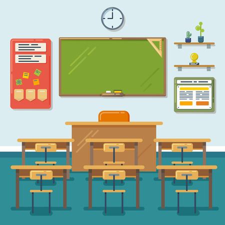 exam: School classroom with chalkboard and desks. Class for education, board, table and study, blackboard and lesson. Vector flat illustration