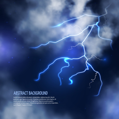 thunderbolt: Thunderstorm with clouds and lightnings. Thunderbolt flash, electricity energy. Vector illustration abstract background