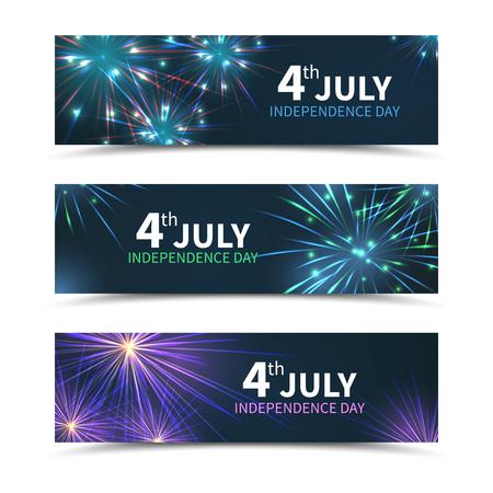 national: Banderas del día EE.UU. independencia establecidos con los fuegos artificiales. día americano, américa de fiesta, celebración julio, libertad nacional, ilustración vectorial Vectores