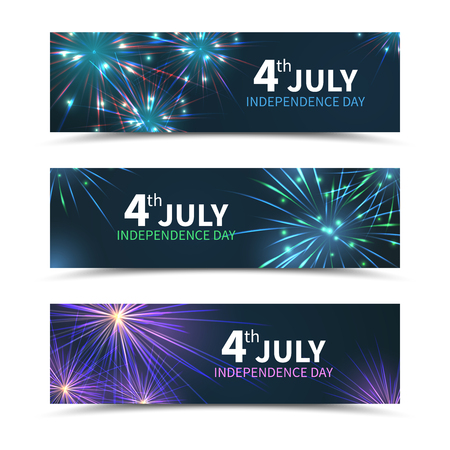 national holiday: USA Independence day banners set with fireworks. American day, america holiday, celebration july, national freedom, vector illustration