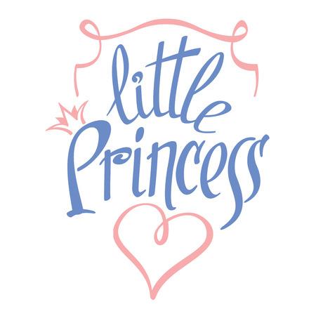 corona de princesa: Poco letras princesa de la muchacha del dise�o de la camiseta. Corona tipograf�a, moda textil, ilustraci�n vectorial