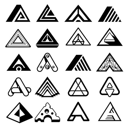 triangles: Triangle shapes for A letter   monogram. Abstract geometric  elements. Design emblem, vector illustration Illustration