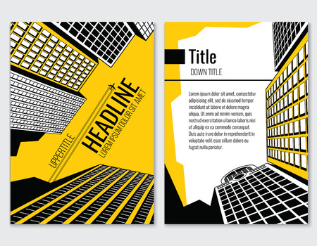 real business: Business brochure template for architectural and construction company. Headline and booklet, poster and brochure, vector illustration