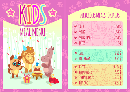 cartoon dinner: Kids meal menu with animal characters. Food and animal, lion and hippo, event birthday, cola and cheeseburger, pizza and hamburger. Vector illustration template brochure Illustration