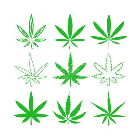 marihuana leaf: Medical marijuana or cannabis icons set. Leaf medical, drug and hemp, plant narcotic, vector illustration