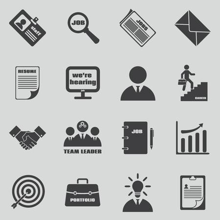 Job iconen set. Human resources en het symbool werkgelegenheid. Teamleider en het personeel, de ontwikkeling te beheren, persoonlijke CV, vector illustratie