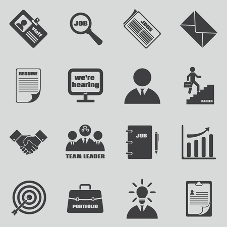 Job icons set. Human resources and employment symbol.  Team leader and staff, development manage, personal resume, vector illustration Illustration