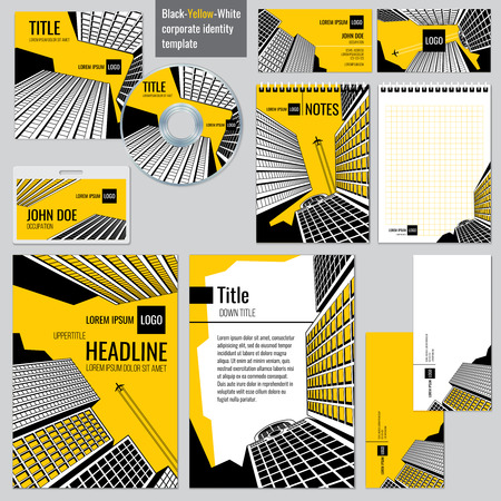 identity: Architectural firm corporate business design. Headline and title, booklet or poster, brochure architecture real estate. Vector illustration templates set