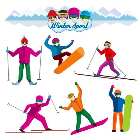 narciarz: Osoby biorące udział w zimowych. Kobieta wakacje i człowiek, narciarz i rozrywka, ekstremalny wypoczynek ilustracji. znaków wektorowych w stylu płaskiej