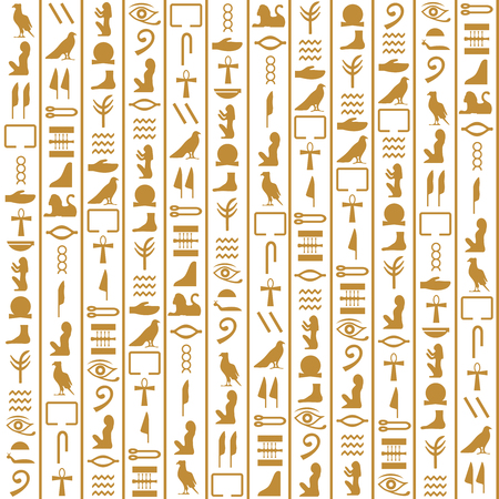 manuscript: Ancient Egyptian seamless vertical pattern hieroglyphs. Ethnic decoration, history manuscript, mythology and traditional. Vector illustration