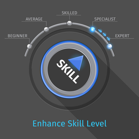 proficiency: Skill levels vector knob button or switch. Education and proficiency, test expertise illustration