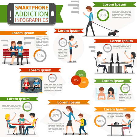 media gadget: Smartphone, social media and internet addiction infographic. Online people, technology communication, vector illustration