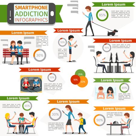 Smartphone, sociale media en internet verslaving infographic. Online mensen, technologie communicatie, vector illustratie Vector Illustratie