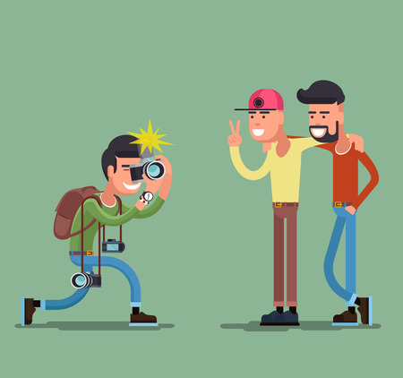 male face: Photographer shooting people. Camera and photography, professional person, man friend smile. Vector illustration